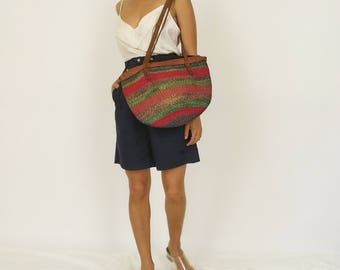 Striped Leather Strap Woven Hessian Bucket Bag