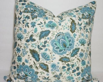 OVERSTOCK SALE Blue Green Ivory Floral Vine Pillow Cover 20x20