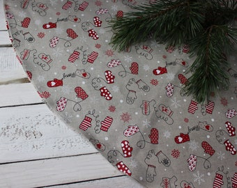 Christmas tree skirt, Linen Christmas tree decoration, round skirt for Christmas tree with gloves