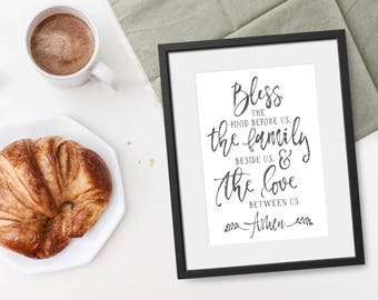 Kitchen Prints - Dining Room Decor - Bless The Food Before Us - Farmhouse Kitchen Decor - Kitchen Wall Art - Hostess Gift -Housewarming Gift