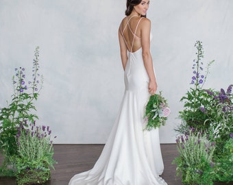 Backless Wedding Dress Old Hollywood Glamour Gown Silk Crepe Gown Destination wedding V-neck 1920's Gatsby gown Low Back Sexy dress