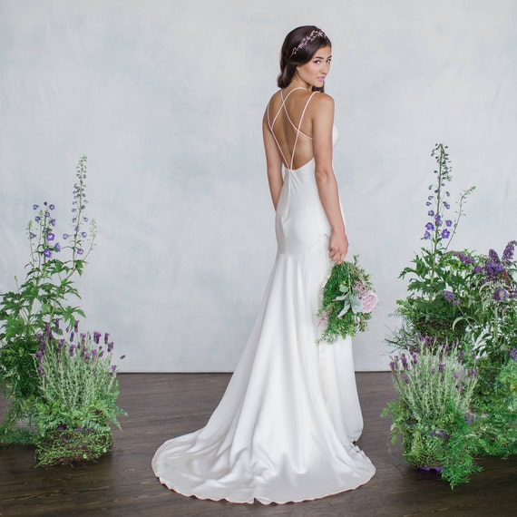 Backless Wedding Dress Old Hollywood Glamour Gown Silk Crepe