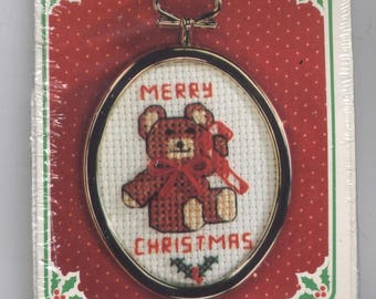 Merry Christmas Teddy Bear Christmas Ornament Counted Cross-Stitch Kit with Frame