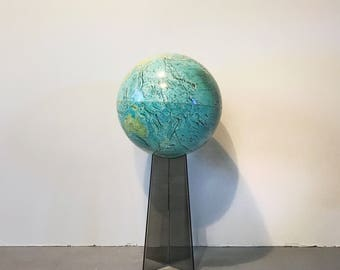 """Vintage 1971 National Geographic Replogle 14"""" Physical Globe with Lucite Stand"""
