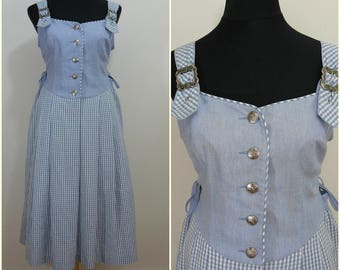 Bohemian VINTAGE Bavarian  DIRNDL Blue Country Gingham Picnic Check Folk Dress Uk 16 Fr 44 Oktoberfest / Tyrol / Austrian / German/ Celtic