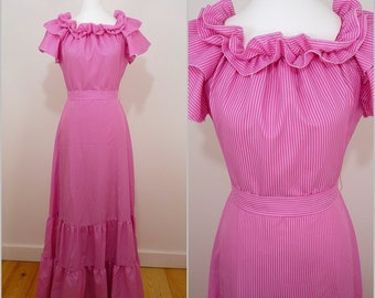 VINTAGE 1970s Candy Pink White Pinstripe Frill Edwardian Victorian Maxi Dress UK 10 F38 Retro / Frill neck/ Garden Party