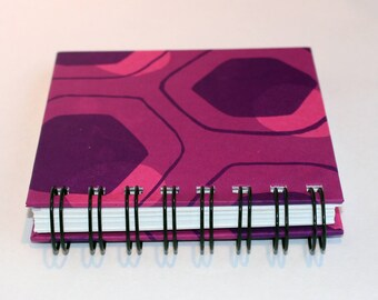 Small, artists notebook or sketchbook in pink and Purple, blank, hardback, Ring bound blank pocket size.handmade and individual