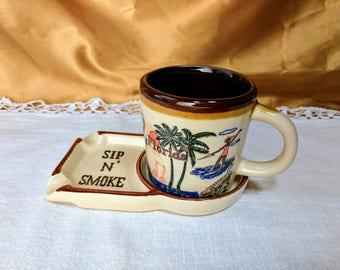 Vintage Sip N' Smoke Coffee Cup Mug with Smoking Ashtray Florida Souvenir *eb