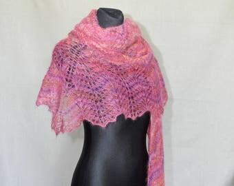 Pink Yarrow Mohair Shawl, Hand Knit Shawl, Lace Shawl, Winter Shawl, Shawl in Pink, Bubble Gum, Triangle Lace Shawl, Triangle Knit Shawl,