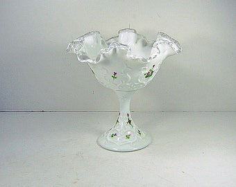 Vintage FENTON MiLKGLASS COMPOTE Silver Crest Handpainted SIGNED Spanish Lace Ruffled Milk Glass Fruit Candy Dish