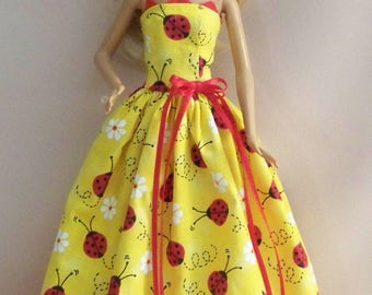 Handmade Barbie Doll Clothes- Yellow with Lady Bugs Barbie Gown/Dress