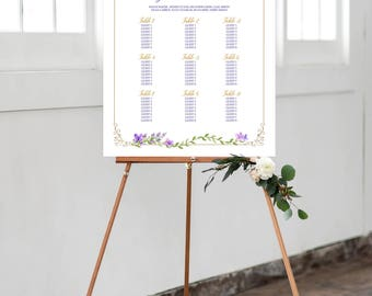 Reception Seating Chart, Wedding Reception Sign, Day Of Stationery - Lavender Love/Purples and Golds (Style 0005)