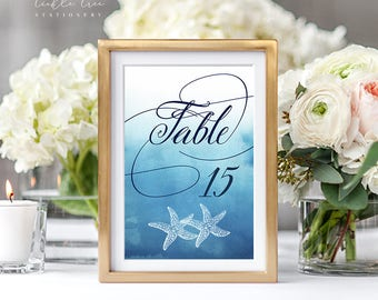 Reception Table Numbers - Ocean Falls/Ombre Beach (Style 13651)