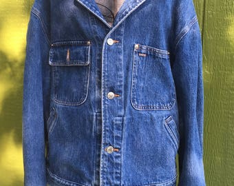 vintage blue jean jacket,Ralph Lauren,Polo,mens cut jacket,size large,western wear,denim jacket,cruising in new york city,shabby chic,bigsky