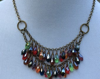 """CLEARANCE Boho chic Sparkly Crystal double strand necklace with Fall colored Crystal Briolettes and Bronze chain  16-24"""" adjustable"""