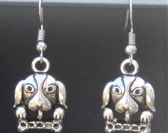 a DOG and his Bone pierced charm earrings SILVER tone Metal Handcrafted