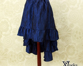 """Steampunk High Low Cecilia Skirt, Longer Length -- Dark Blue Crinkle Taffeta -- Ready to Ship -- Best Fits Up To 48"""" Waist"""