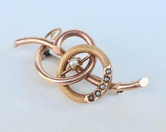 Victorian Love Knot Brooch with Pearls