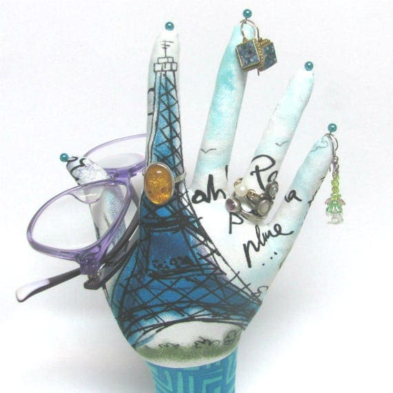 CLASSIC Eiffel Tower HAND-Stand ~ Fabric Jewelry Holder ~ Ready to Ship