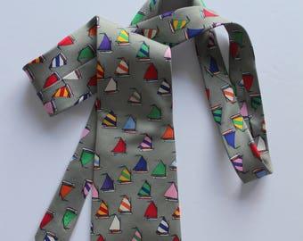Vintage Alynn Neckwear Rainbow Fleet Sailboat Necktie 1980s