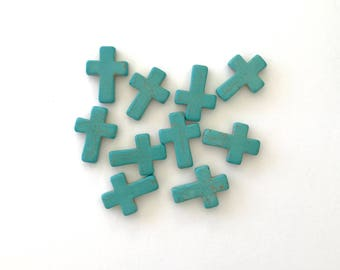 Turquoise Cross Bead 30mm x 23mm 10 Pieces