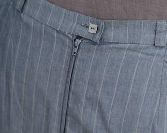 90's Grey Striped Long Skirt - Cotton Skirt