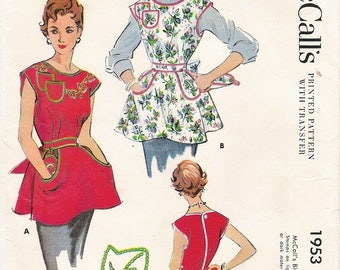 Neat Uncut Vintage 1950s McCall's 1953 Cobbler Apron with Ivy Embroidery and Pot Holders Sewing Pattern Sz Medium B32-34