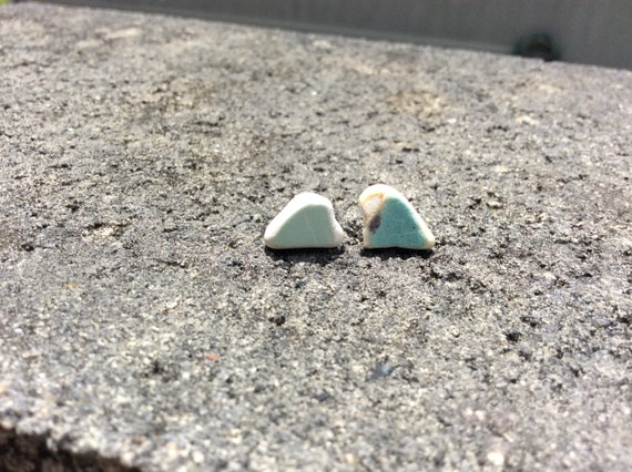 Surf Tumbled Sea Pottery Stud Earrings