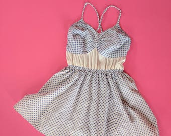 1930s Gingham and Satin Bathing Suit Skirted Romper Swimsuit 30s 40s