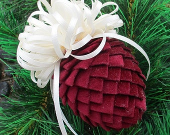 Fabric Pinecone Ornament - Burgundy Velour with Cream Satin Bow - Christmas Ornament, Stocking Stuffer, Co-Worker Gift, Ornament  Exchange
