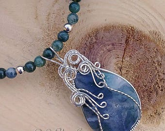 Green Moss Agate in Silver