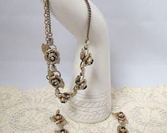 Vintage Roses Demi-Parure Necklace Bracelet Rhinestones Gold Wash