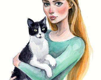 Cat Lady Watercolor Painting - Original Art