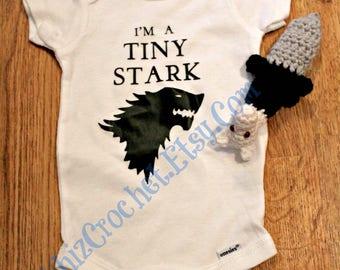 Game of Thrones Tiny Stark Onesie and Wolf Head Sword Rattle Set, Crochet Wolf Head Sword Rattle, House Stark, Newborn, 3 Month, Baby Shower