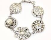 Rhinestone Bracelet, Sparkly Bracelet, Crystal Bracelet, Recycled Jewelry, Upcycled Bracelet, Holiday Jewelry, Earring Bracelet, Bling