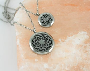 Mommy and Me Essential Oil Necklace - Aromatherapy Necklace - Diffuser Necklace - Stainless Diffuser - Mommy and Me Necklaces - Mandala