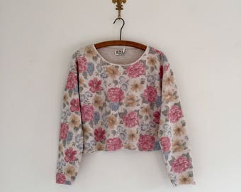 Vintage 90's Faded Floral Cropped Sweater M