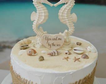 Ocean cake topper etsy seahorse wedding cake topper bride and groom beach themed wedding destination ocean nautical beach cake topper junglespirit Choice Image