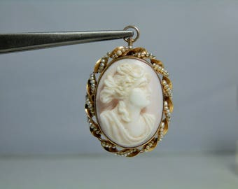 Antique 10k Yellow Gold Carved Shell Cameo Seed Pearl Brooch Pendant Combination in Excellent Condition Victorian Jewelry