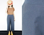 Handmade striped vintage jeans, cropped mid-calf length wide leg pant [Castello pants/Striped Jeans]