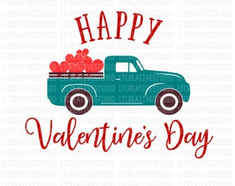 Valentines Day Truck SVG ,Truck with Hearts Svg, Valentines Day SVG, Love Truck SVG, Cricut Cut Files, Sihouette Cut Files