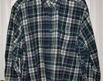Vintage Mens Blue & Green Plaid Flannel Shirt by Faded Glory XL 46-48 Only 9 USD