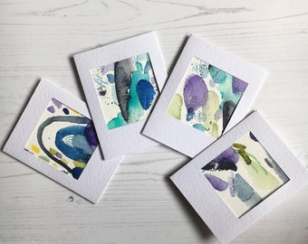 Hand Painted, Original Watercolour Abstract Greeting card