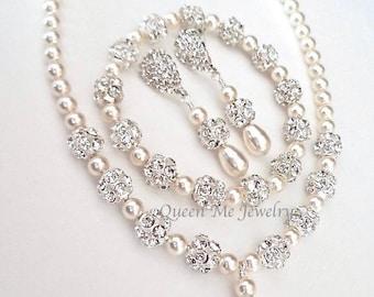 Brides jewelry set, 3 piece pearl jewelry set,Swarovski pearl jewelry set~ Pearl Bracelet, Earrings, Necklace, Brides Jewelry set- HOLLY