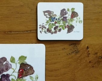 Coaster, Autumn Print - Afternoon Tea - 11cm x 9cm  (4.5 x 3.5 inches)