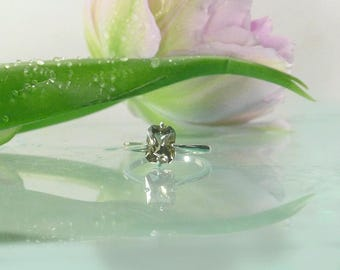 Emerald Cut Ring, Solitaire Ring, Solitaire Engagement Ring, Herkimer Diamond, Emerald Cut Silver Ring, Unique Solitaire Ring, Herkimer Ring