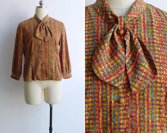 Vintage 80's 'Weft & Warp' Basketweave Print Bow Collar Blouse XS or S