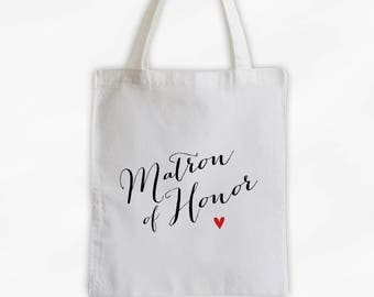 Matron of Honor Heart Cotton Canvas Tote Bag - Custom Wedding Party Gift, Wedding Day Kit Bag, Bridal Party Honor Attendant Tote (3013)