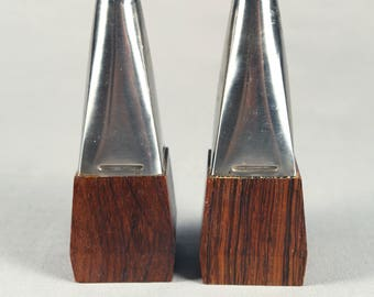 Rosewood and stainless salt and pepper shakers, Danish Modern