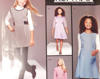 Girls A line Dress and Jumper New Simplicity Sewing Pattern 8026 Girls Size AA 8-16 Girls Fashion Sized for Stretch Knits